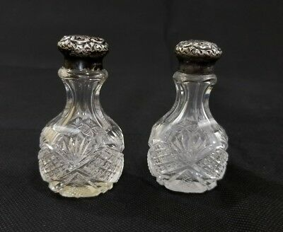 RARE HAWKES Cut Crystal SIGNED SALT PEPPER Shakers STERLING SILVER BEAUTIFUL SET