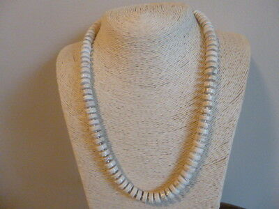 White Turquoise Heishi Bead And Silver Native American Navajo Necklace