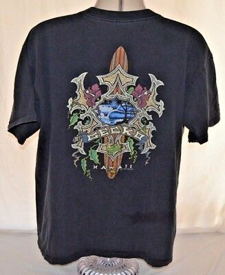 a6624e74af4139 VTG 90s Gecko Spell Out Gecko Hawaii Logo Ocean Surf Black Mens XL Made in  USA