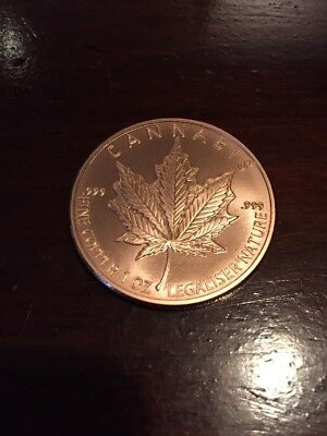 1 oz Copper Round .999 Legaliser Nature. Marijuana Canada Weed