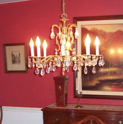 Vintage, Brass and Crystal Chandelier with 8 lights