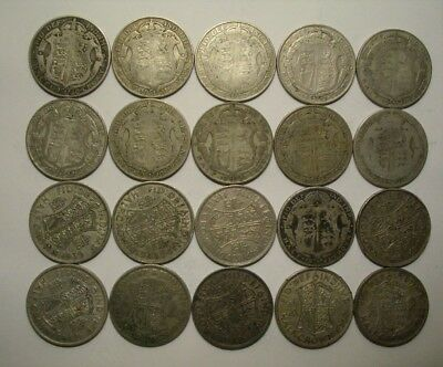 Collection Lot Great Britain (UK) Half Crowns, Two Shilling Silver Coins