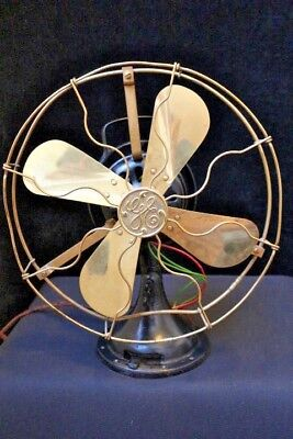 """Antique 16"""" GE General Electric FAN BRASS BLADE Cage"""