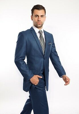 Men's Slim Fit Sharkskin Suit Formal Two Button Business Fitted Wedding Suits