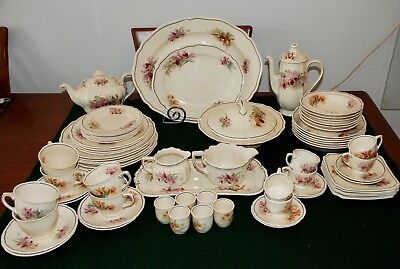 Royal Doulton Dinner Ware-Orchid Pattern stamped D5215, 74 pieces