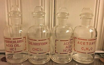 Lot of 4 ANTIQUE VINTAGE CHEMISTRY apothecary medicine bottles RED letter glass
