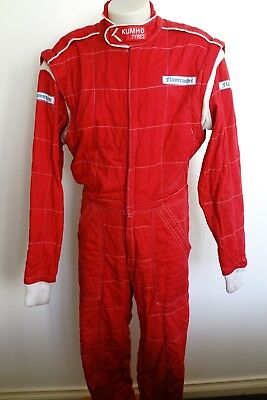 vintage 'flamecrusher' red quilted race suit…to fit a medium…see description...