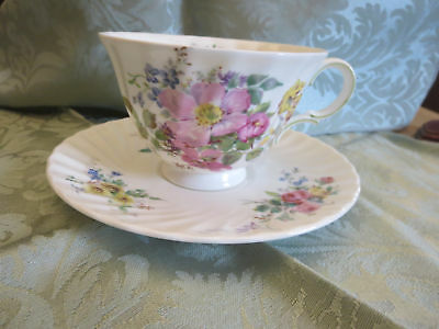 Royal Doulton Arcadia Cup and Saucer Brown Mark Pink Rose Multi Floral