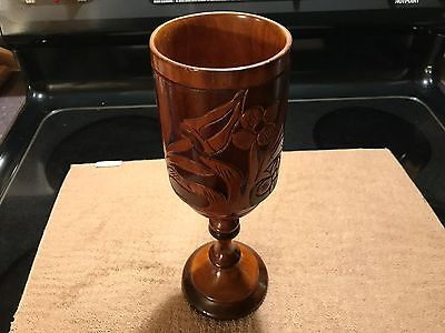 "Large Vintage Beautiful Wooden Handmade Carved Solid Wood 11"" Goblet Cup Lot0289"