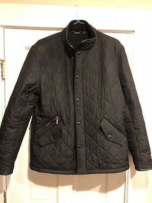 Barbour Powell Black Quilted Field Jacket Size Large
