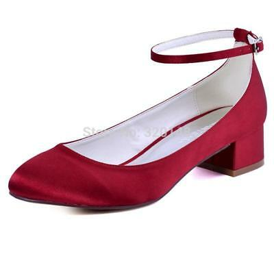 FC1613 Woman Wedding Shoes Burgundy Size  10 Closed Toe Block heel Ankle Strap L