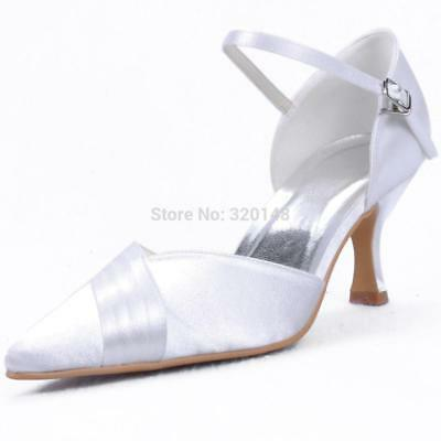 EP11012 White Size 6 Woman shoes for wedding bridal Med heel pointed toe ankle s