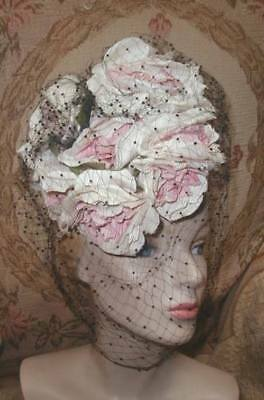 Gorgeous LILLY DACHE 1940s PLUMP PINK ROSES Tilt Hat,Full Silk Veil,O Ring VG