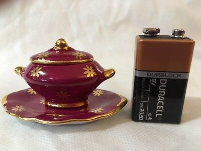 Limoges Miniature Red/Gold Tureen and Serving Platter # 5204