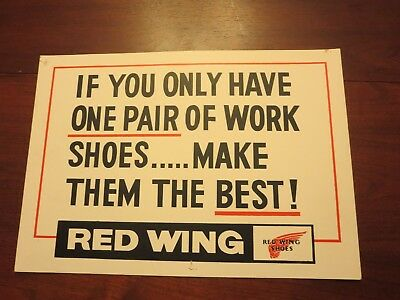 Vintage Red Wing Shoes advertising poster / sign 14 x 20 inches Cobbler Estate