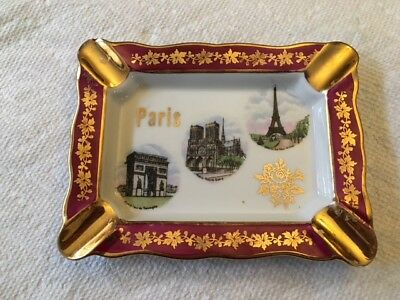 Limoges Miniature Red/Gold Paris Ash Tray #5208