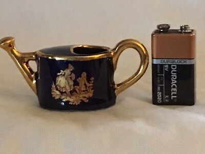 Limoges Miniature Cobalt Blue/Gold Courting Lovers Watering Can #5213