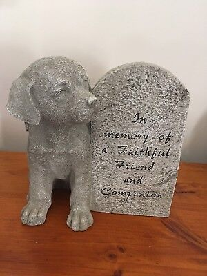Pet Dog Large Memorial Stone Statue Plaque Sympathy Gift