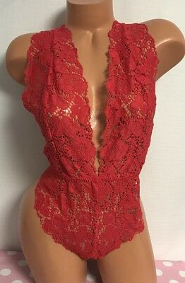 NWT Victoria's Secret Sexy Red Lace Teddy Lingerie Size Large NEW