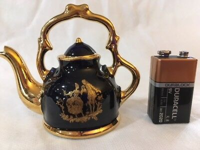 Limoges Miniature Cobalt Blue/Gold Courting Lovers Teapot #5212