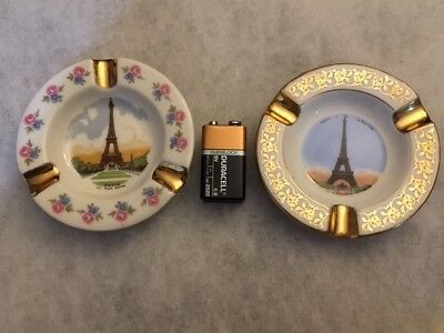 Limoges White/Gold Eiffel Tower Ash Trays - 2  #5290