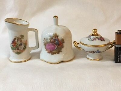 Limoges Miniature White/Gold Covered Tureen, Pitcher and Bell Fragonard  #5293