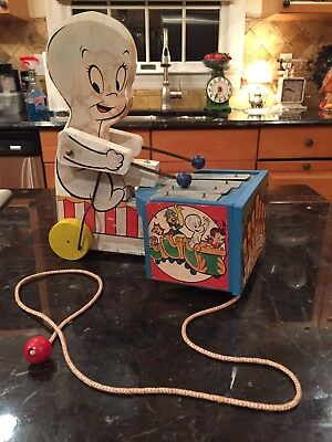 RARE Casper The Ghost Xylophone Musical Pull Toy W/Harveytoons Characters 1962