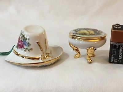 Limoges Miniature White/Gold Hat and Round Footed Trinket Box  Fragonard  #5299