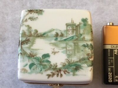 Limoges Miniature White Hinged Trinket Box  with Castle Scene #5300