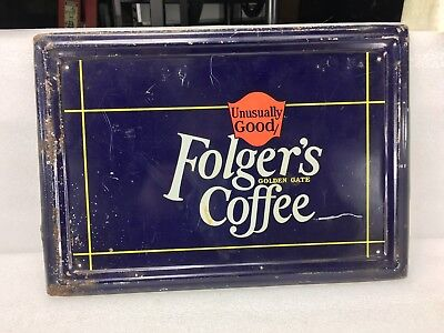 Original Folger's Golden Gate Coffee Tin Sign ~ Rolled Edge ~ Painted Tin 13 x 9