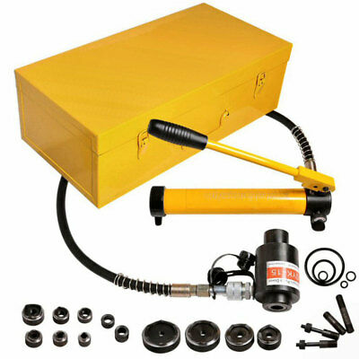 New 15 Ton Hydraulic Knockout Slug Buster Punch 10 Dies Draw Studs Tools Set Kit