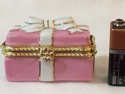Limoges Miniature Pink Hinged Trinket Box  with White Bow  #5302