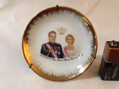 Limoges Miniature Prince Rainier/Princess Grace Plate with Stand  #5309
