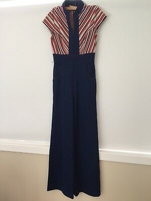 70s Vintage Jerel Of Texas jumpsuit Chevron Red Navy wide leg pant size 10 12