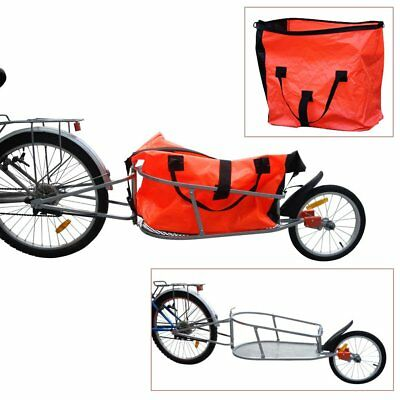 New Single Wheel Bicycle Bike Cargo Trailer Cart Carrier with Luggage Bag Orange