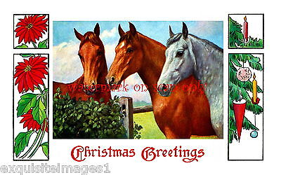 Antique Christmas Art~Poinsettias~Horses at Fence~Ornaments~ NEW Lge Note Cards