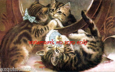 Vintg Art~Tabby Kittens~ Powder Puff NEW Lge Note Cards