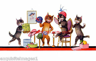 Cute & Colorful Cats Try on Hats~ NEW Large Note Cards