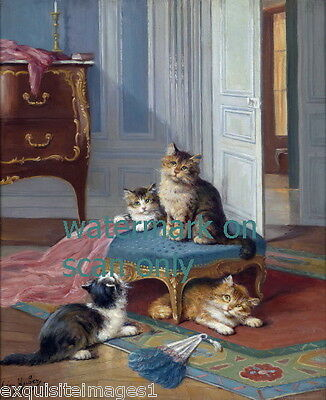 1883 Kitten Kittens Cat Cats Play on Blue Footstool~Feather DusterNEW Note Cards