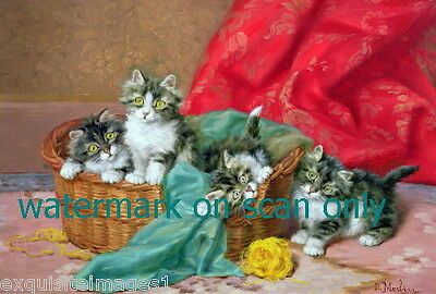 c1899 Merlin~Kitten Kittens Cat Cats~ Wicker Basket w Yarn~ NEW Large Note Cards