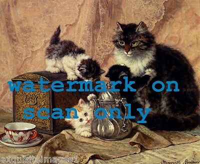 c1890 Art~Kitten~Kittens~Cat~Cats At Teatime~Teapot~Teacup~NEW Large Note Cards