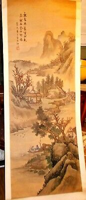 "Antique Chinese scroll landscape on paper 20""x 68""~rolled scroll signed & chop"