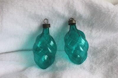 Vintage Unsilvered Teal Green Swirl Glass Christmas Ornaments