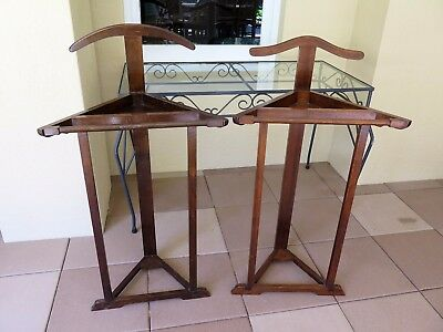 Two His & Her Vintage Timber Valet Or Coat Stands With Provenance