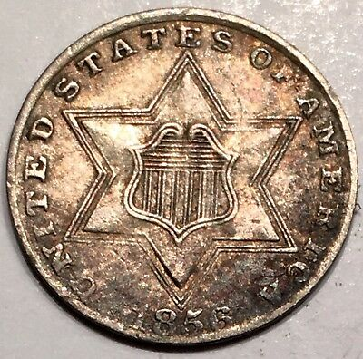 1856 3C Three Cent Silver