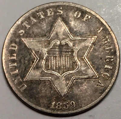 1859 3C Three Cent Silver