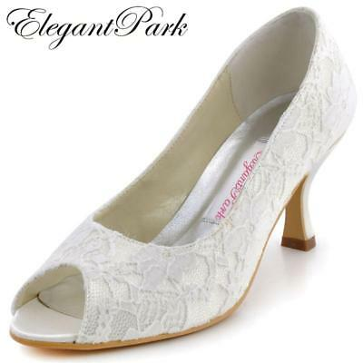 Fashion Ivory Woman Shoes EP11013 Peep Toe Mid Heels Lace Lady Party Wedding Bri
