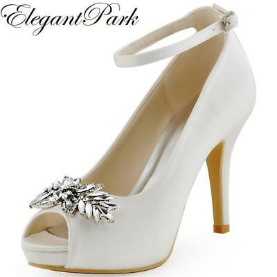 HP1544 White IvoryWoman Wedding Shoes High Heel Platform Ankle Strap Crystal Buc