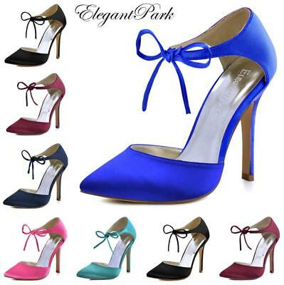 Woman High Heel Prom Evening Pumps Teal Navy Blue Ankle Strap Ribbon Tie Satin B