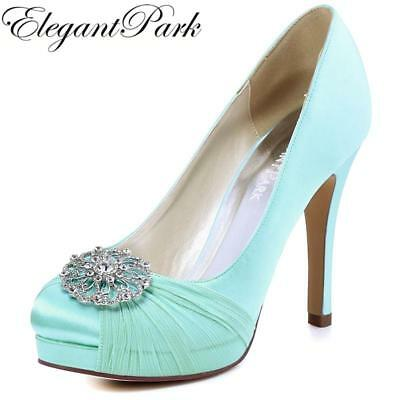 HC1609P Woman Mint High Heel Bridal Wedding Shoes Closed Toe Platform Buckle Chi